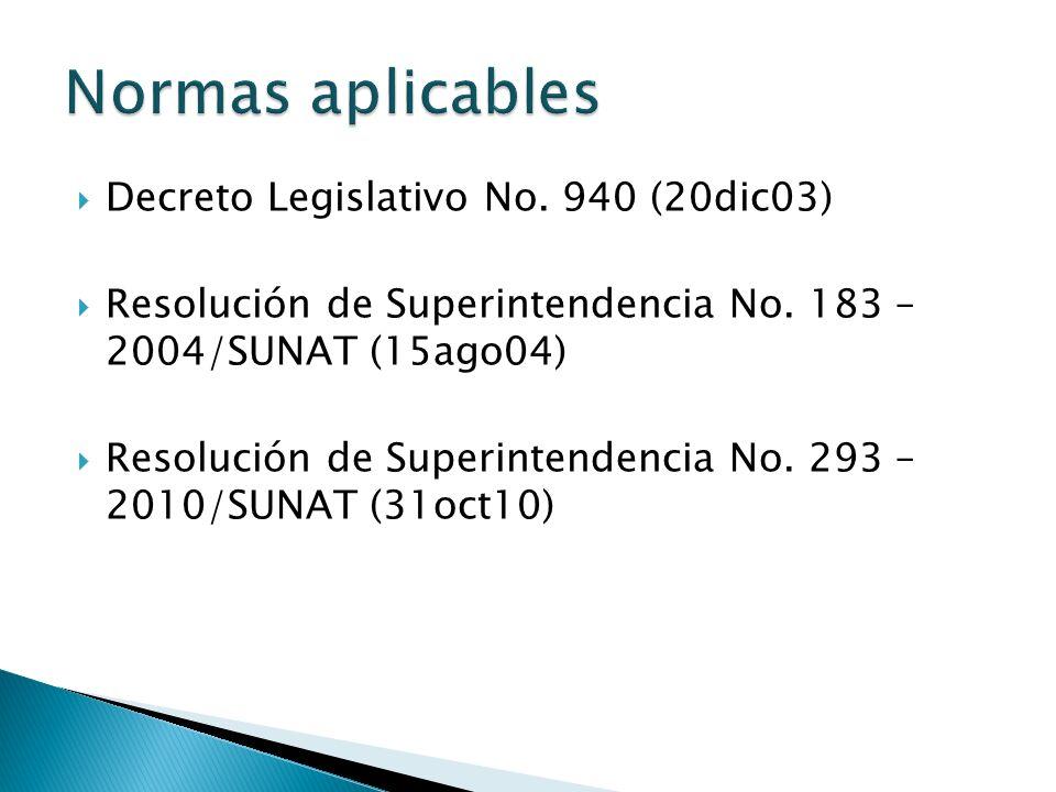 Decreto Legislativo No.940 (20dic03) Resolución de Superintendencia No.