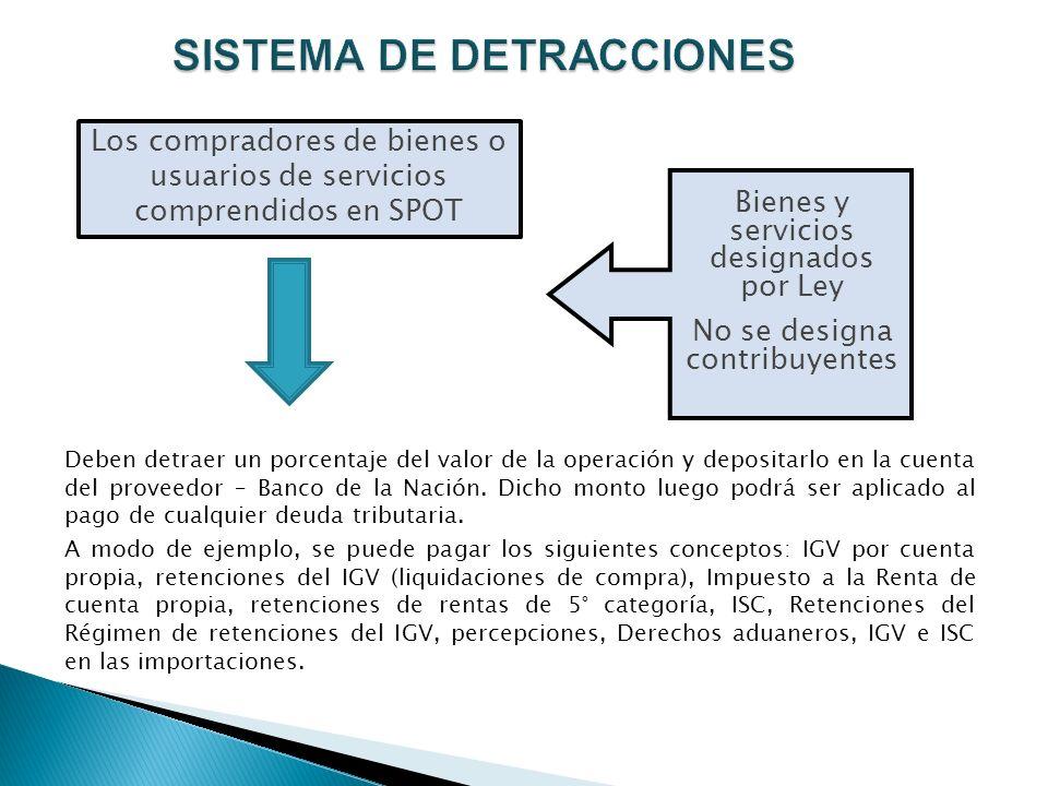 SISTEMA DE DETRACCIONES Los compradores de bienes o usuarios de servicios comprendidos en SPOT Deben detraer un porcentaje del valor de la operación y depositarlo en la cuenta del proveedor – Banco de la Nación.