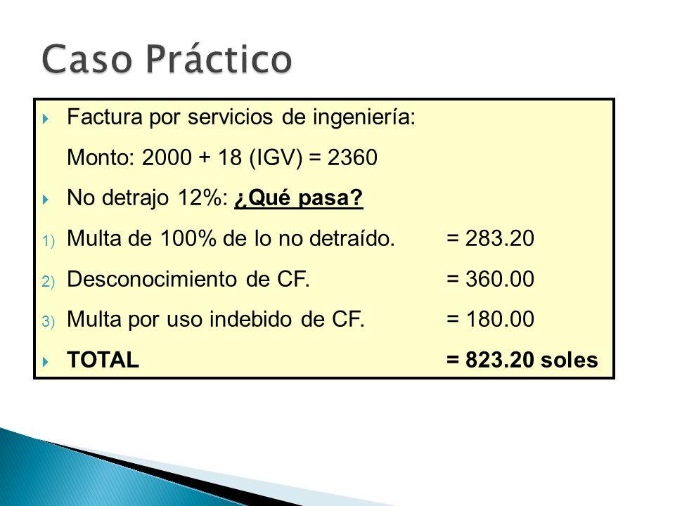 Factura por servicios de ingeniería: Monto: 2000 + 18 (IGV) = 2360 No detrajo 12%: ¿Qué pasa.