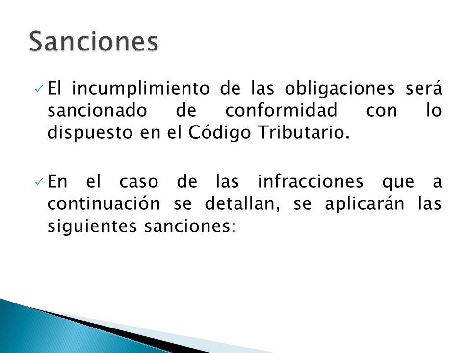 El incumplimiento de las obligaciones será sancionado de conformidad con lo dispuesto en el Código Tributario.