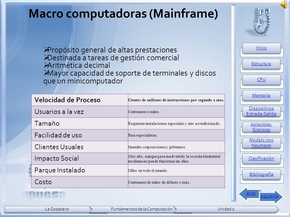 Propósito general de altas prestaciones Destinada a tareas de gestión comercial Aritmética decimal Mayor capacidad de soporte de terminales y discos que un minicomputador Macro computadoras (Mainframe) Velocidad de Proceso Cientos de millones de instrucciones por segundo o mas.
