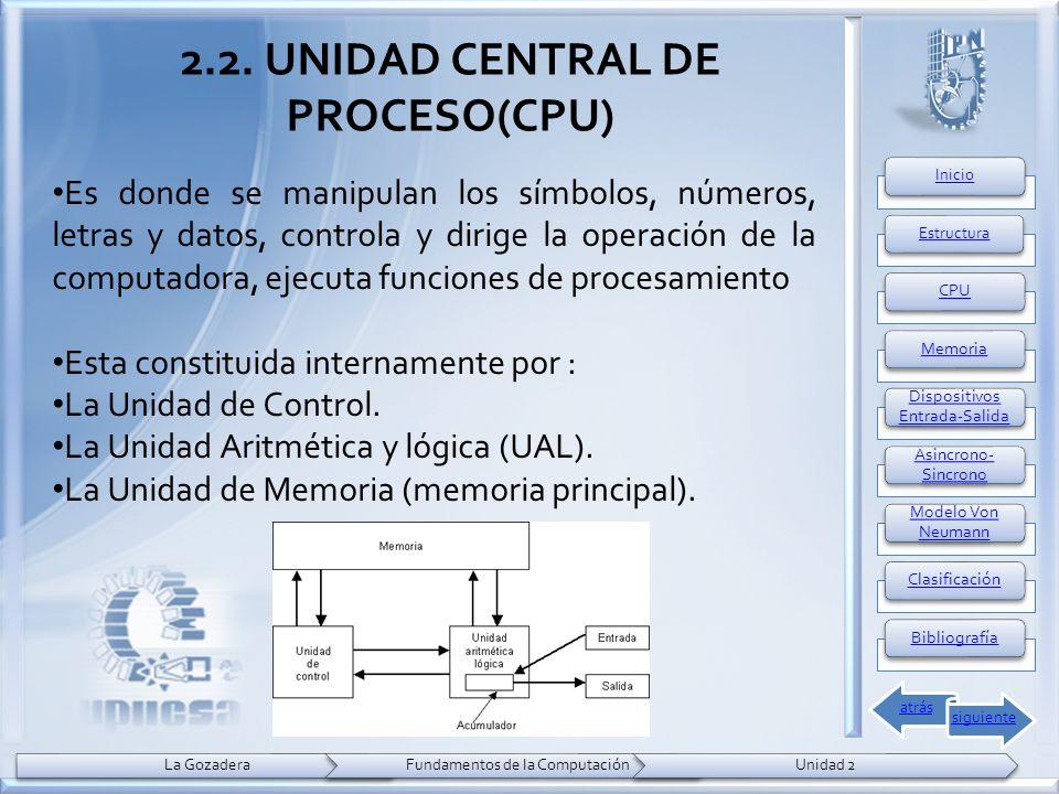 2.2. UNIDAD CENTRAL DE PROCESO(CPU) Es donde se manipulan los símbolos, números, letras y datos, controla y dirige la operación de la computadora, eje
