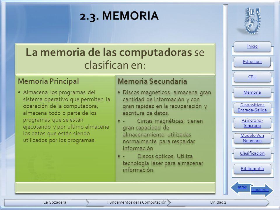 2.3. MEMORIA La memoria de las computadoras se clasifican en: Memoria Principal Almacena los programas del sistema operativo que permiten la operación