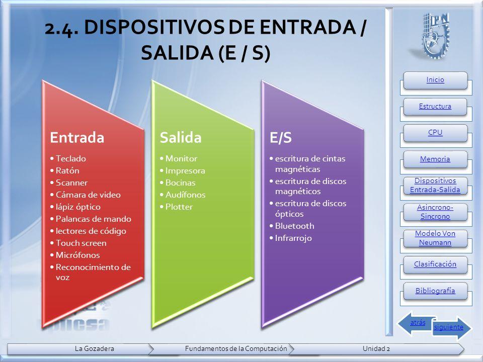 2.4. DISPOSITIVOS DE ENTRADA / SALIDA (E / S) Entrada Teclado Ratón Scanner Cámara de video lápiz óptico Palancas de mando lectores de código Touch sc
