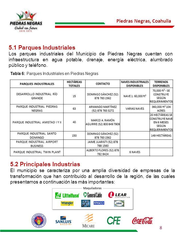 Piedras Negras, Coahuila 5.2 Principales Industrias El municipio se caracteriza por una amplia diversidad de empresas de la transformación que han con