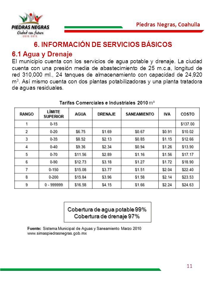 Piedras Negras, Coahuila 6. INFORMACIÓN DE SERVICIOS BÁSICOS 6.1 Agua y Drenaje El municipio cuenta con los servicios de agua potable y drenaje. La ci
