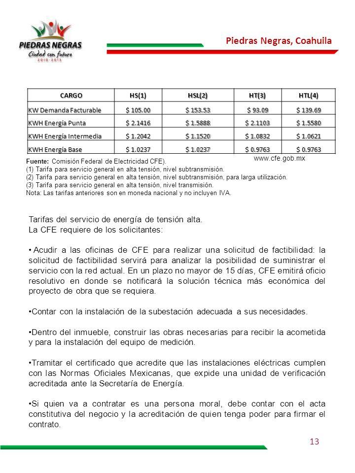 Piedras Negras, Coahuila Tarifas del servicio de energía de tensión alta. La CFE requiere de los solicitantes: Acudir a las oficinas de CFE para reali