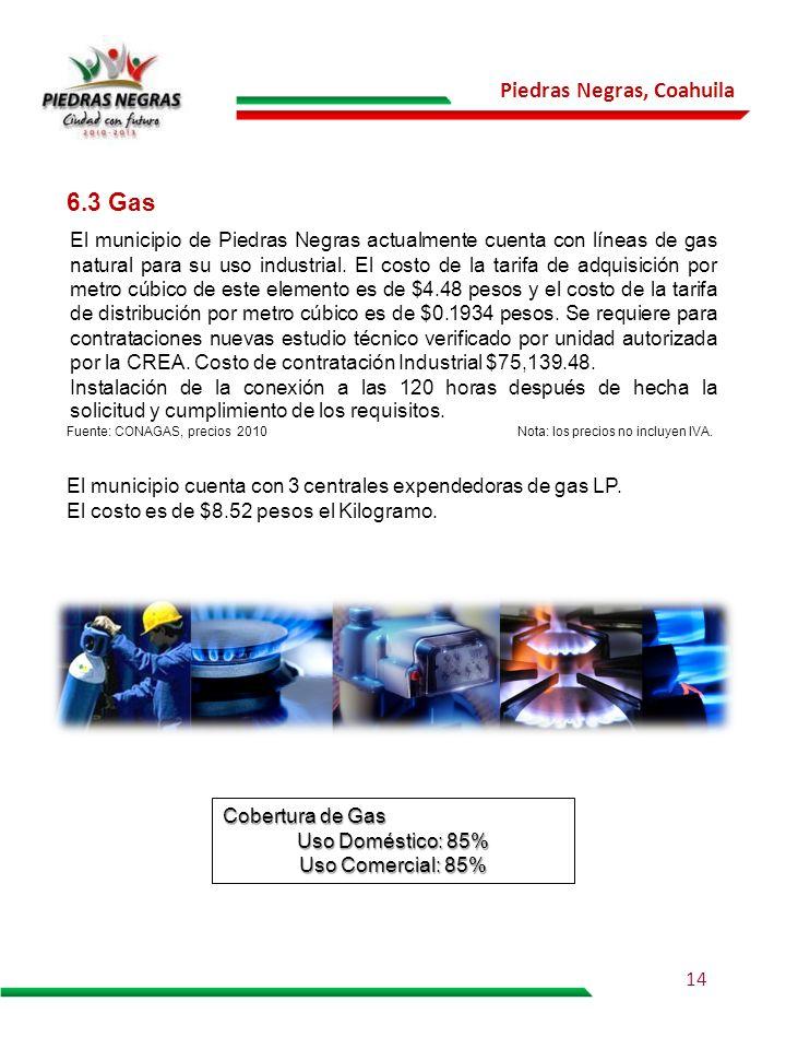 Piedras Negras, Coahuila 6.3 Gas El municipio de Piedras Negras actualmente cuenta con líneas de gas natural para su uso industrial. El costo de la ta