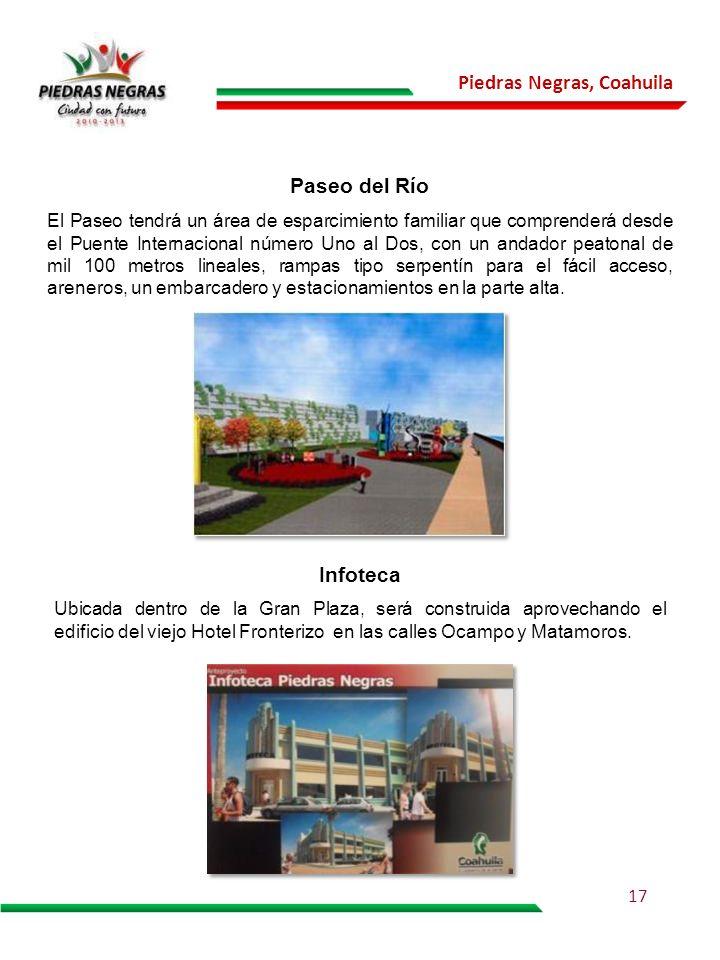 Piedras Negras, Coahuila El Paseo tendrá un área de esparcimiento familiar que comprenderá desde el Puente Internacional número Uno al Dos, con un and