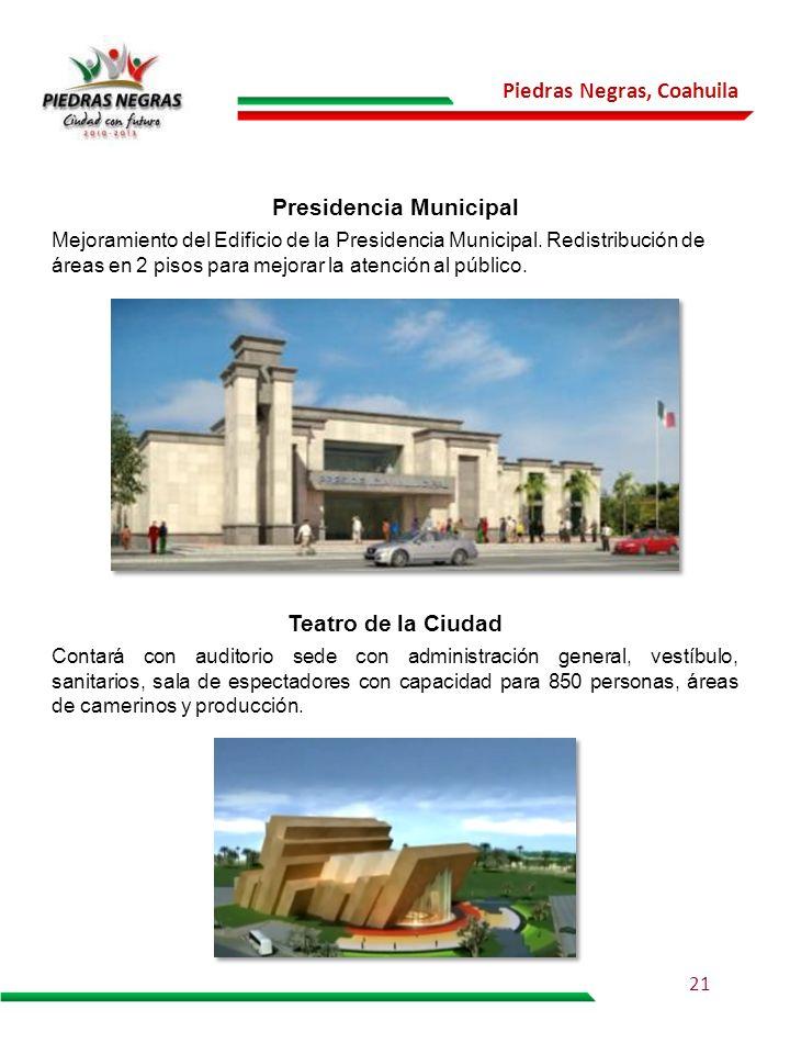 Piedras Negras, Coahuila Contará con auditorio sede con administración general, vestíbulo, sanitarios, sala de espectadores con capacidad para 850 per