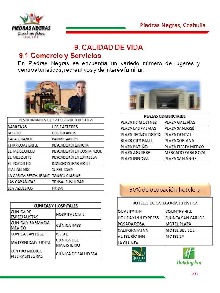 Piedras Negras, Coahuila 9. CALIDAD DE VIDA En Piedras Negras se encuentra un variado número de lugares y centros turísticos, recreativos y de interés