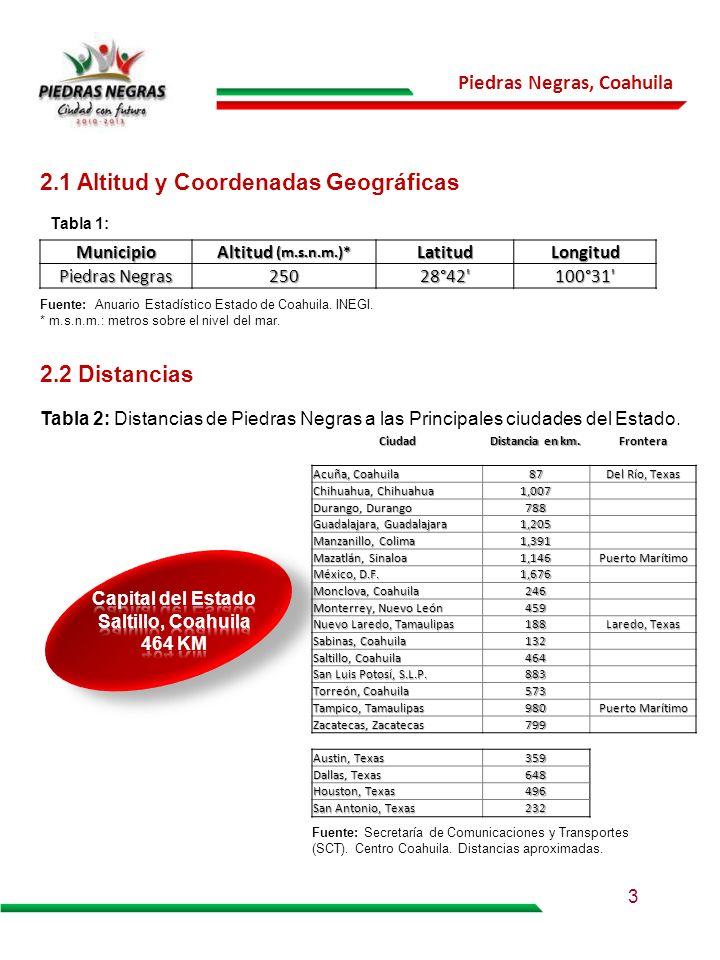 Piedras Negras, Coahuila 2.1 Altitud y Coordenadas Geográficas Fuente: Anuario Estadístico Estado de Coahuila. INEGI. * m.s.n.m.: metros sobre el nive