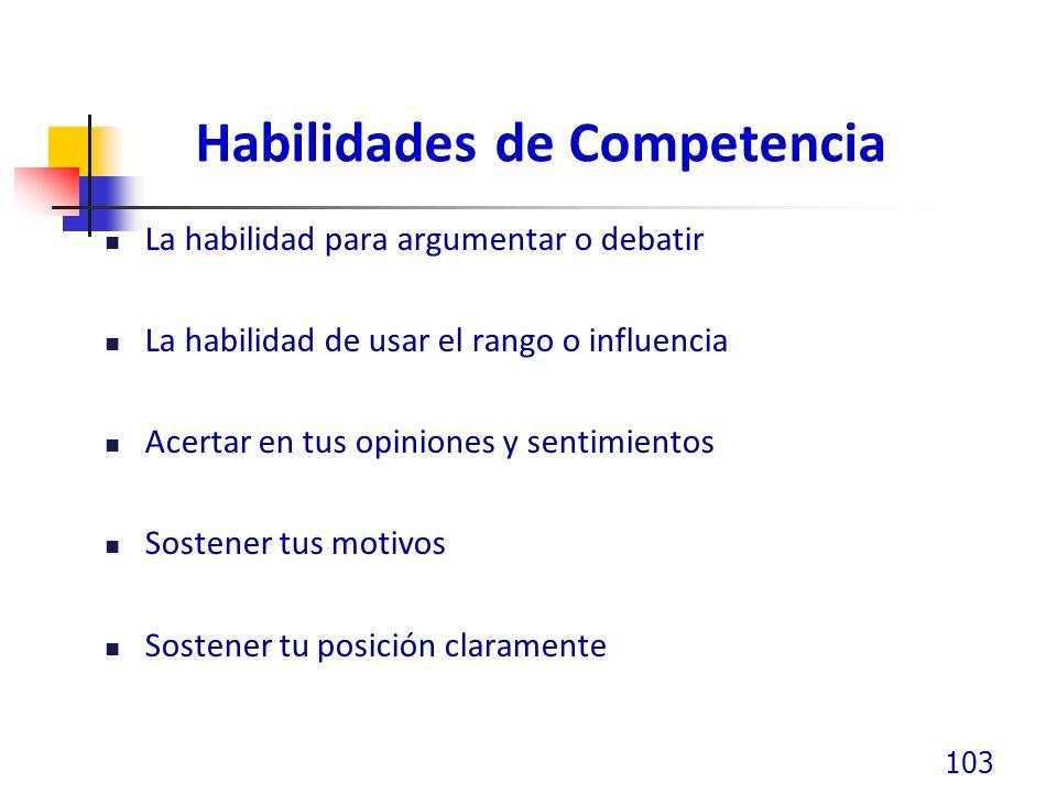 Habilidades de Competencia La habilidad para argumentar o debatir La habilidad de usar el rango o influencia Acertar en tus opiniones y sentimientos S
