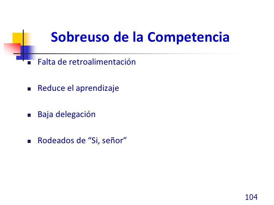 Sobreuso de la Competencia Falta de retroalimentación Reduce el aprendizaje Baja delegación Rodeados de Si, señor 104
