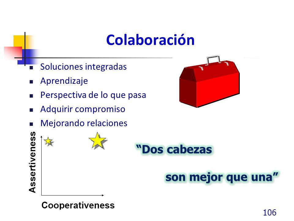 Colaboración Soluciones integradas Aprendizaje Perspectiva de lo que pasa Adquirir compromiso Mejorando relaciones 106