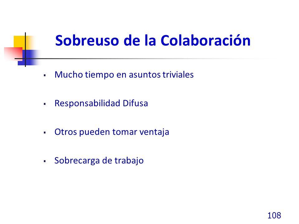 Sobreuso de la Colaboración Mucho tiempo en asuntos triviales Responsabilidad Difusa Otros pueden tomar ventaja Sobrecarga de trabajo 108