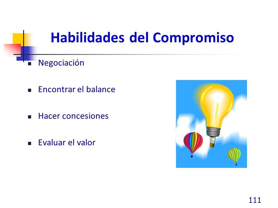 Habilidades del Compromiso Negociación Encontrar el balance Hacer concesiones Evaluar el valor 111
