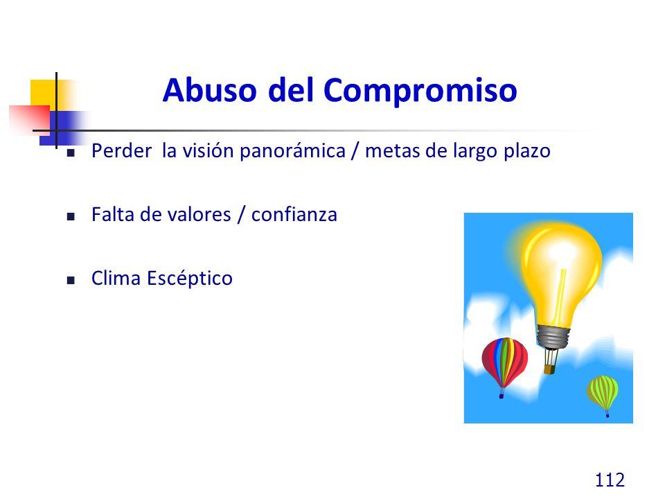 Abuso del Compromiso Perder la visión panorámica / metas de largo plazo Falta de valores / confianza Clima Escéptico 112