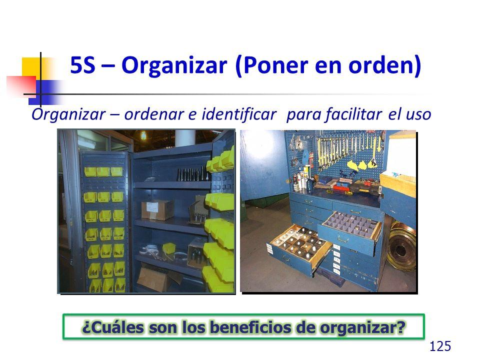 5S – Organizar (Poner en orden) Organizar – ordenar e identificar para facilitar el uso 125