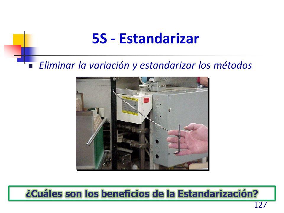 5S - Estandarizar Eliminar la variación y estandarizar los métodos 127