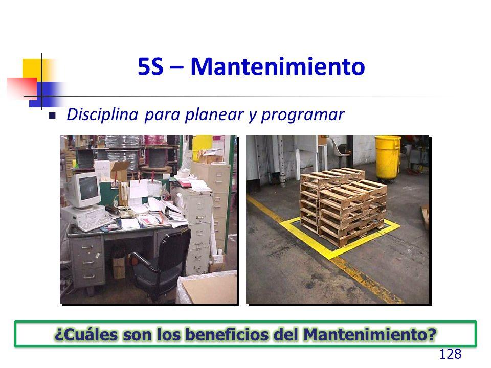 5S – Mantenimiento Disciplina para planear y programar 128