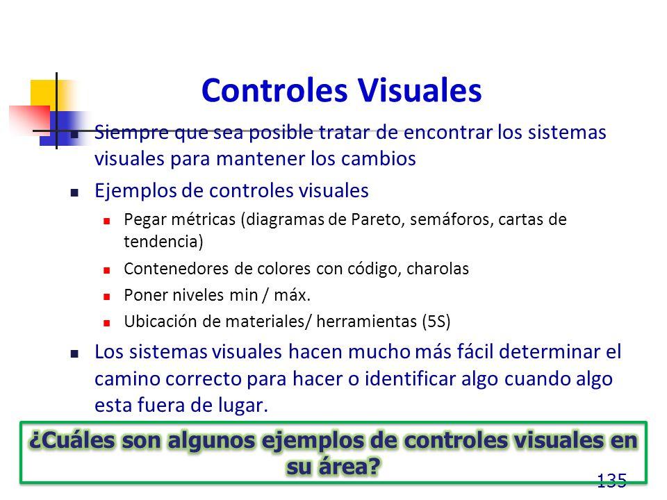Controles Visuales Siempre que sea posible tratar de encontrar los sistemas visuales para mantener los cambios Ejemplos de controles visuales Pegar métricas (diagramas de Pareto, semáforos, cartas de tendencia) Contenedores de colores con código, charolas Poner niveles min / máx.