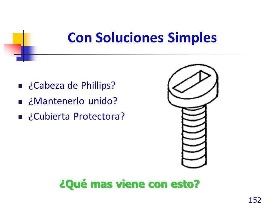 Con Soluciones Simples ¿Cabeza de Phillips? ¿Mantenerlo unido? ¿Cubierta Protectora? 152 ¿Qué mas viene con esto?