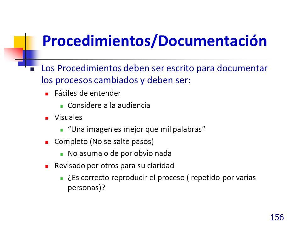 Procedimientos/Documentación Los Procedimientos deben ser escrito para documentar los procesos cambiados y deben ser: Fáciles de entender Considere a