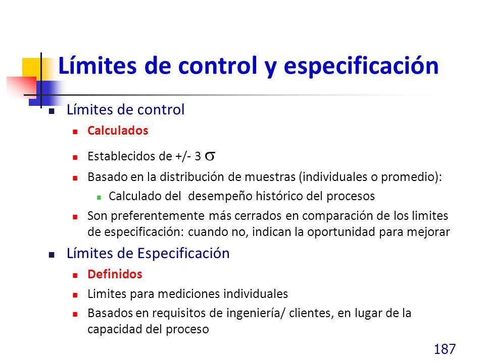 Límites de control y especificación Límites de control Calculados Establecidos de +/- 3 Basado en la distribución de muestras (individuales o promedio): Calculado del desempeño histórico del procesos Son preferentemente más cerrados en comparación de los limites de especificación: cuando no, indican la oportunidad para mejorar Límites de Especificación Definidos Limites para mediciones individuales Basados en requisitos de ingeniería/ clientes, en lugar de la capacidad del proceso 187
