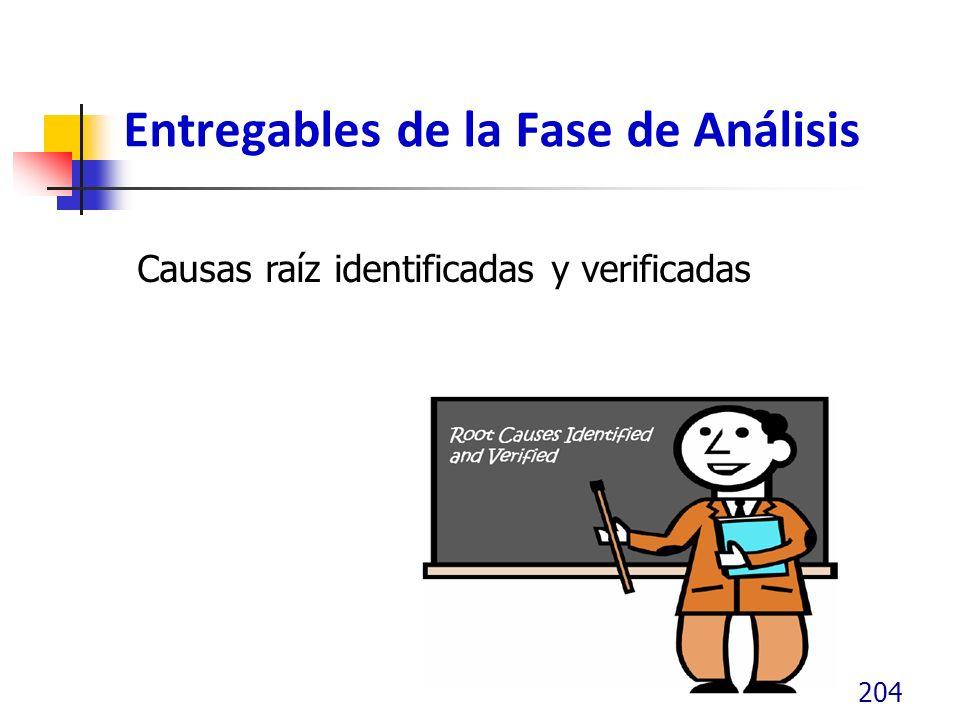 Entregables de la Fase de Análisis 204 Causas raíz identificadas y verificadas