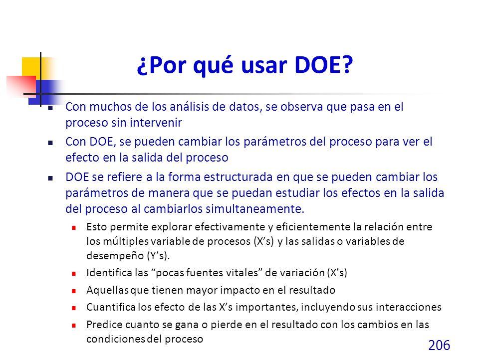¿Por qué usar DOE? Con muchos de los análisis de datos, se observa que pasa en el proceso sin intervenir Con DOE, se pueden cambiar los parámetros del