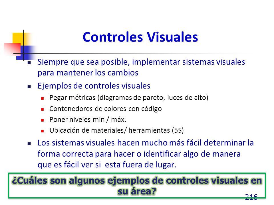 Controles Visuales Siempre que sea posible, implementar sistemas visuales para mantener los cambios Ejemplos de controles visuales Pegar métricas (diagramas de pareto, luces de alto) Contenedores de colores con código Poner niveles min / máx.