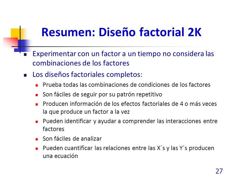 Resumen: Diseño factorial 2K Experimentar con un factor a un tiempo no considera las combinaciones de los factores Los diseños factoriales completos: Prueba todas las combinaciones de condiciones de los factores Son fáciles de seguir por su patrón repetitivo Producen información de los efectos factoriales de 4 o más veces la que produce un factor a la vez Pueden identificar y ayudar a comprender las interacciones entre factores Son fáciles de analizar Pueden cuantificar las relaciones entre las X´s y las Y´s producen una ecuación 27