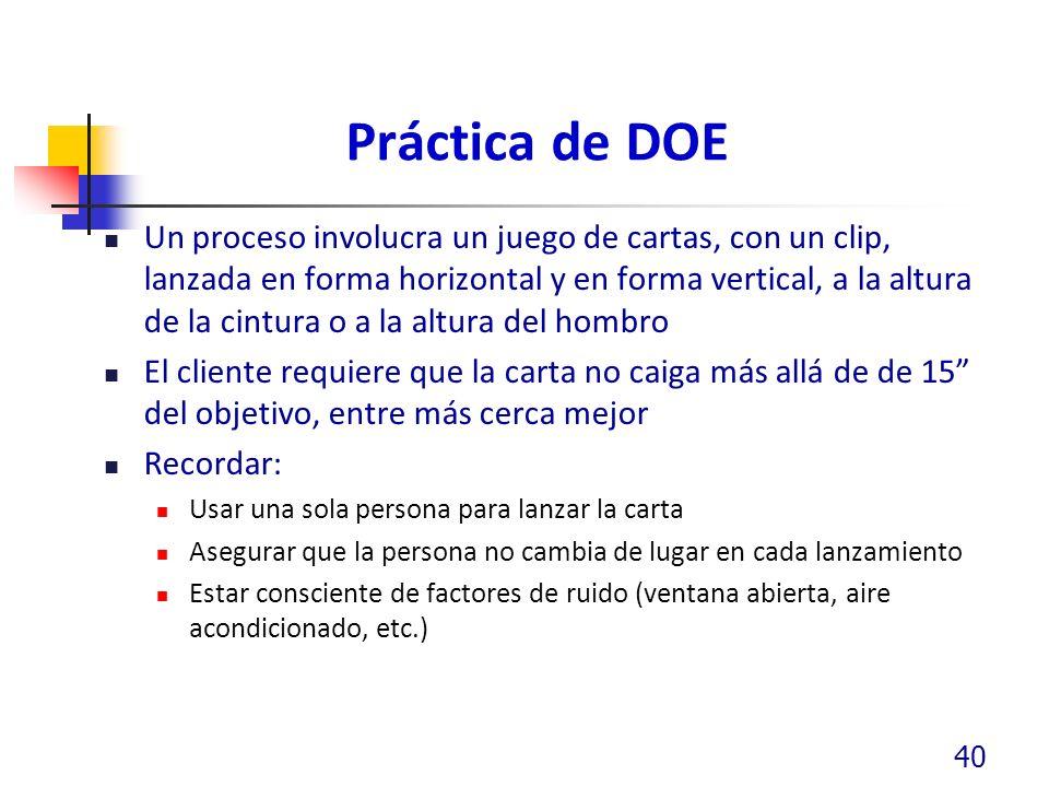 Práctica de DOE Un proceso involucra un juego de cartas, con un clip, lanzada en forma horizontal y en forma vertical, a la altura de la cintura o a l