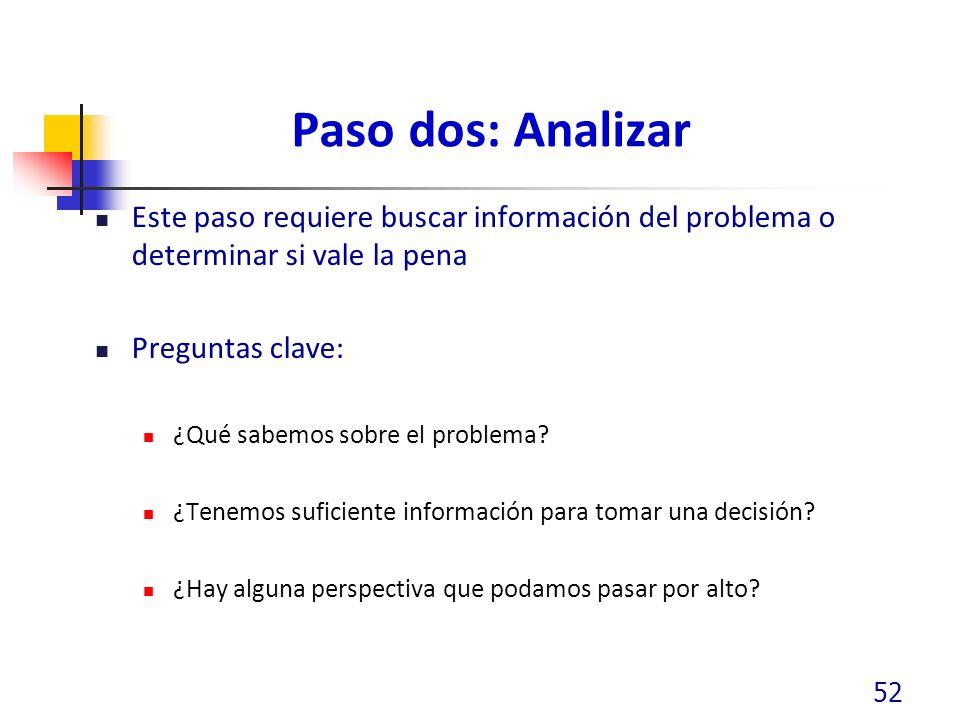 Paso dos: Analizar Este paso requiere buscar información del problema o determinar si vale la pena Preguntas clave: ¿Qué sabemos sobre el problema? ¿T