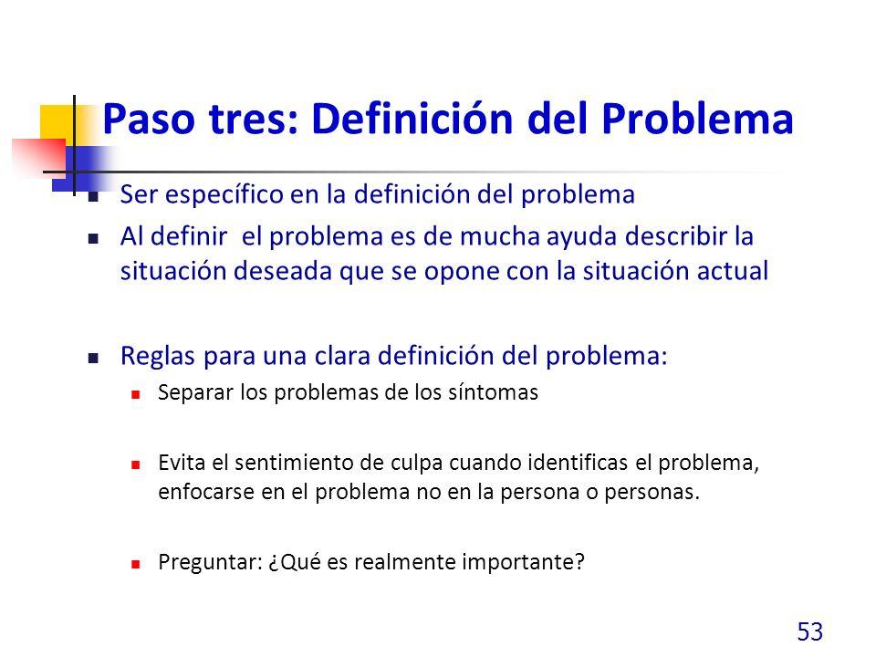 Paso tres: Definición del Problema Ser específico en la definición del problema Al definir el problema es de mucha ayuda describir la situación deseada que se opone con la situación actual Reglas para una clara definición del problema: Separar los problemas de los síntomas Evita el sentimiento de culpa cuando identificas el problema, enfocarse en el problema no en la persona o personas.