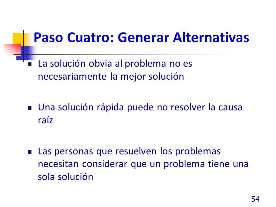 Paso Cuatro: Generar Alternativas La solución obvia al problema no es necesariamente la mejor solución Una solución rápida puede no resolver la causa raíz Las personas que resuelven los problemas necesitan considerar que un problema tiene una sola solución 54