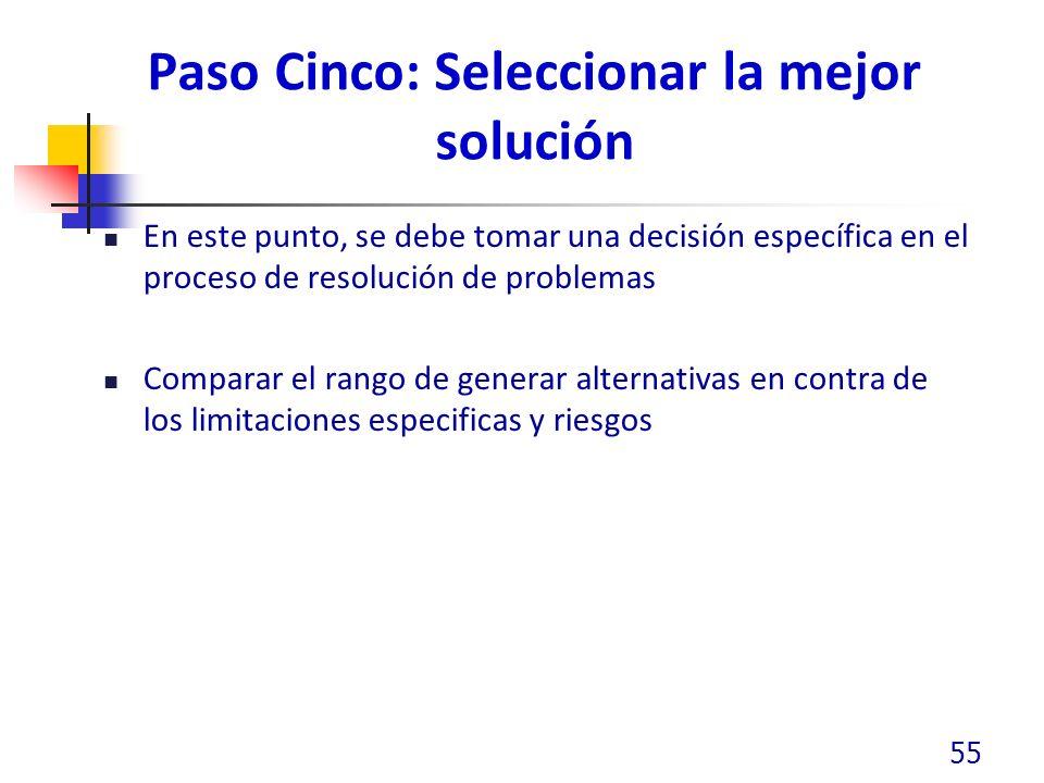 Paso Cinco: Seleccionar la mejor solución En este punto, se debe tomar una decisión específica en el proceso de resolución de problemas Comparar el rango de generar alternativas en contra de los limitaciones especificas y riesgos 55