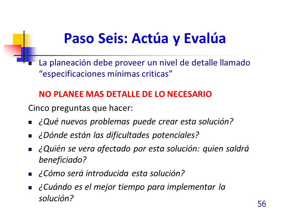 Paso Seis: Actúa y Evalúa La planeación debe proveer un nivel de detalle llamado especificaciones mínimas criticas NO PLANEE MAS DETALLE DE LO NECESAR