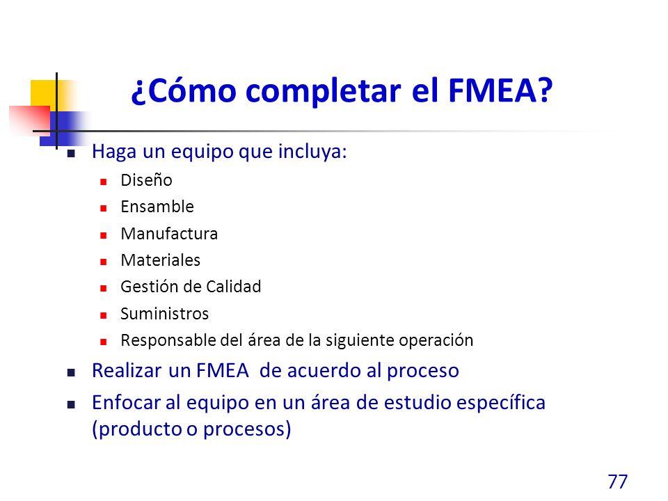 ¿Cómo completar el FMEA? Haga un equipo que incluya: Diseño Ensamble Manufactura Materiales Gestión de Calidad Suministros Responsable del área de la
