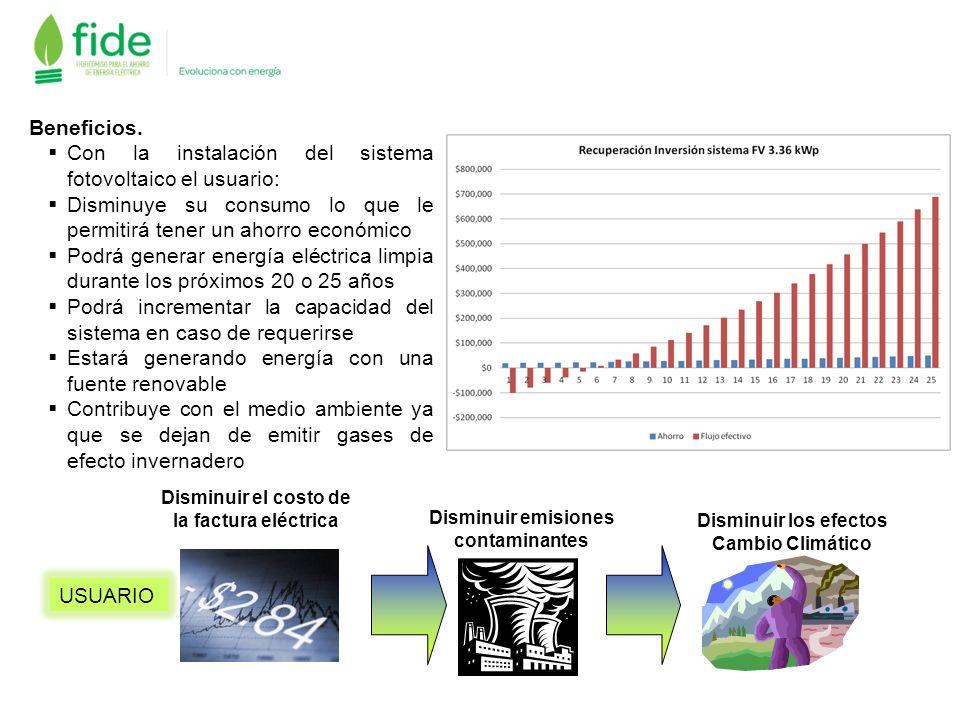 Beneficios. Con la instalación del sistema fotovoltaico el usuario: Disminuye su consumo lo que le permitirá tener un ahorro económico Podrá generar e