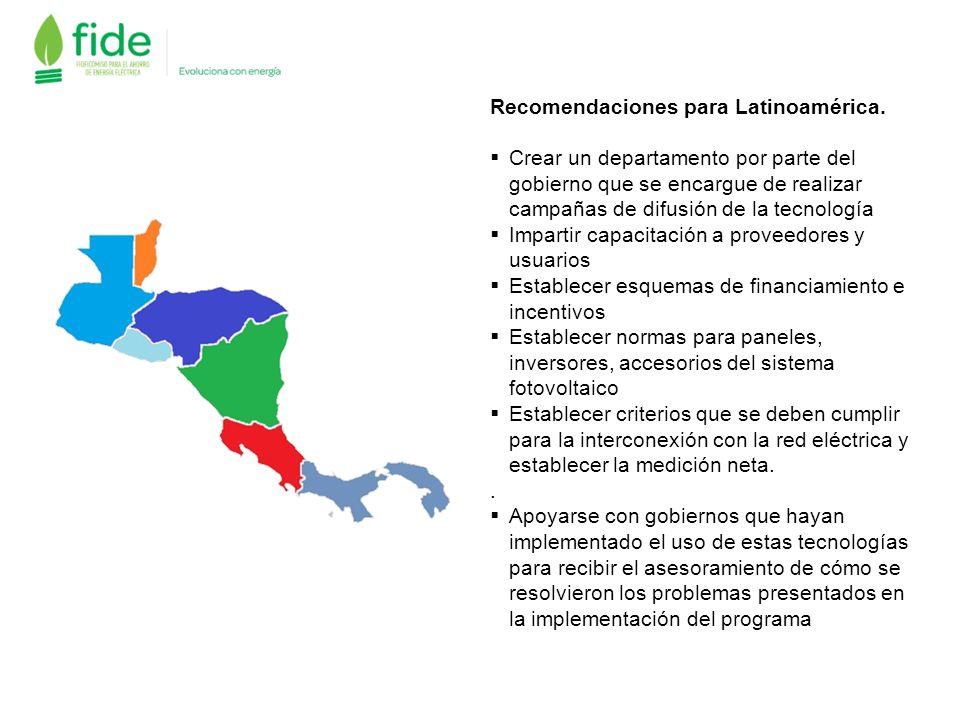 Recomendaciones para Latinoamérica. Crear un departamento por parte del gobierno que se encargue de realizar campañas de difusión de la tecnología Imp
