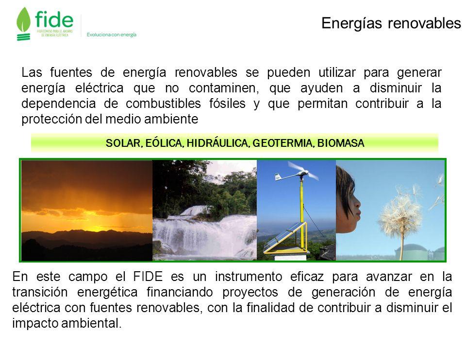 Las fuentes de energía renovables se pueden utilizar para generar energía eléctrica que no contaminen, que ayuden a disminuir la dependencia de combus