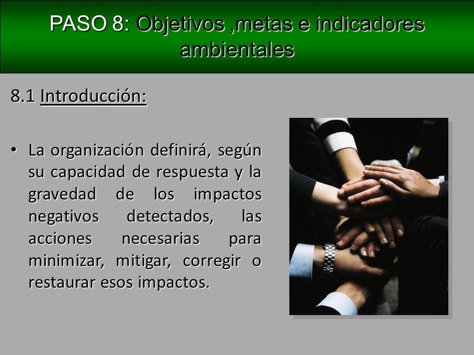 PASO 8: Objetivos, metas e indicadores ambientales 8.2 Objetivos y metas ambientales: Representan el compromiso ambiental de una organización.