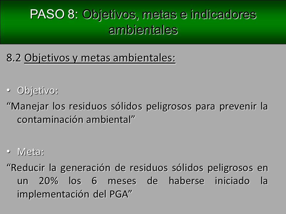 Definir objetivos, metas e indicadores ambientales PASO 8: Definir objetivos, metas e indicadores ambientales 8.3.