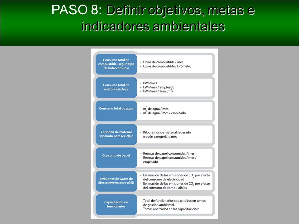 Definir medidas ambientales PASO 9: Definir medidas ambientales Las medidas o acciones ambientales son un conjunto de actividades orientadas, con plazos específicos, a alcanzar los objetivos y metas ambientales que se han definido.