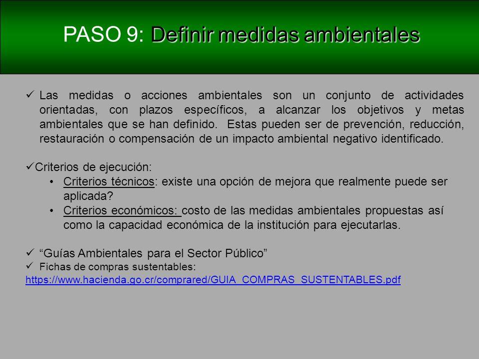 PASO 9: Definir Metas ambientales Medidas ambientales: Pueden ser de corrección, reducción o de prevención.