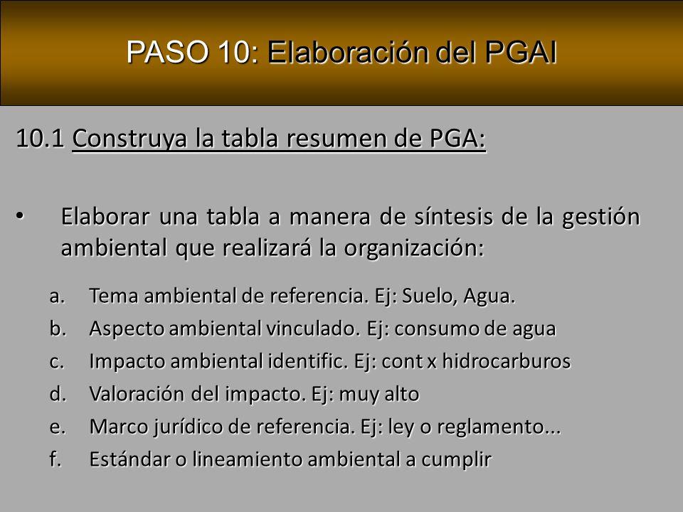PASO 10: Elaboración del PGAI 10.2 Construya la tabla resumen de PGAI: Elaborar una tabla a manera de síntesis de la gestión ambiental que realizará la organización: Elaborar una tabla a manera de síntesis de la gestión ambiental que realizará la organización: g.Medidas ambientales a cumplir h.Plazo para la implementación de las medidas i.Recursos humanos y financieros necesarios j.Responsable de la aplicación k.Síntesis de los compromisos ambientales