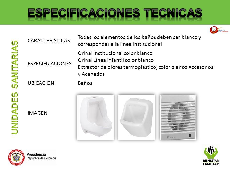 CARACTERISTICAS Todas los elementos de los baños deben ser blanco y corresponder a la línea institucional ESPECIFICACIONES Orinal Institucional color