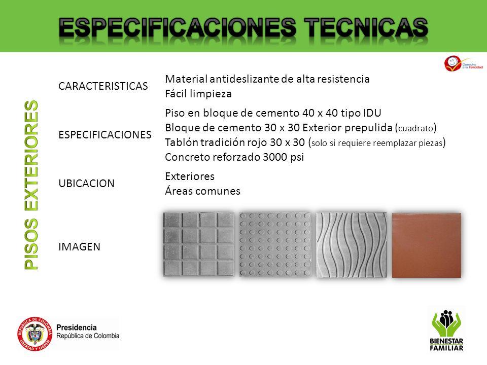 CARACTERISTICAS Material antideslizante de alta resistencia Fácil limpieza ESPECIFICACIONES Piso en bloque de cemento 40 x 40 tipo IDU Bloque de cemen